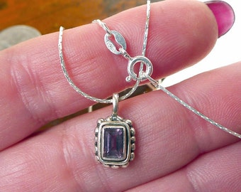 Sterling Silver Amethyst Charm Necklace Faceted Purple Amethyst Baguette Jewelry - SE-808