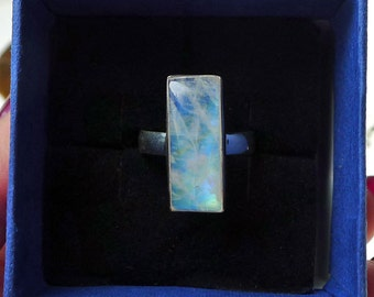 Rainbow Moonstone Ring, Sterling Silver Ring with Moonstone, Solid .925 Silver and Genuine Rainbow Gemstone Ring - U.S. Size 9