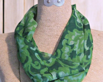 Lovely Vintage 100% Silk Infinity Fashion Scarf--Brandeis Co. Green Paisley