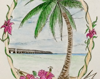 Seven Mile Bridge in Florida Keys - 8 X 10 - Framed Original Drawing - Last 3 days at this SALE price