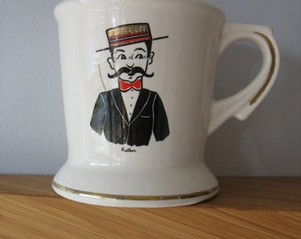 Vintage Moustache Mug - Man With Moustache and Bowtie