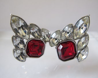 YSL 1980's Fashion Costume Earrings/ Clip Backs/ Crystal Stones/RED Romance On the Ear STATEMENT Runway Catwalk Chic French Designer Jewelry