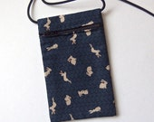 """Pouch Zip Bag RABBIT Fabric - Great for Walkers, markets, travel. Cell Phone Pouch. Bunny fabric purse. Tiny bunnies on Navy Blue 7x4.25"""""""