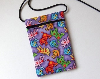 Pouch Zip Bag DOG Fabric.  Great for walkers, markets, travel. Cell Phone Pouch, Small fabric Purse. Multiple uses. purple puppy purse