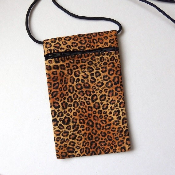Pouch Zip Bag CAT Fabric LEOPARD Print - great for walkers, markets, travel. Cell Phone Pouch. small brown fabric purse. cat sling pouch