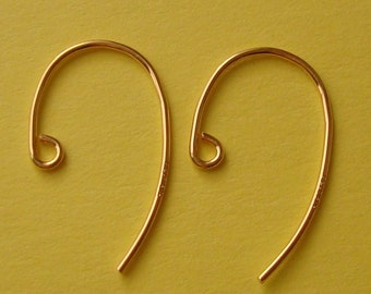 10 Pieces (5 Pairs), French Hook Swoop Ear Wire, 14K Gold Filled, 12.8x19.9mm, 20 Gauge, GFE112