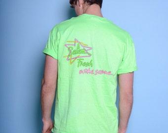 Vintage Neon Green Salem Cigarettes Promo Tee Sz L