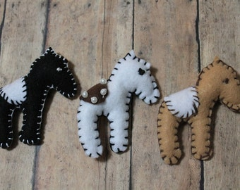 Baby Burro ornaments-Mini burros-Small horse ornaments-Little ponies-Handmade felt donkey ornaments-country decor-felt toys-felt animals set