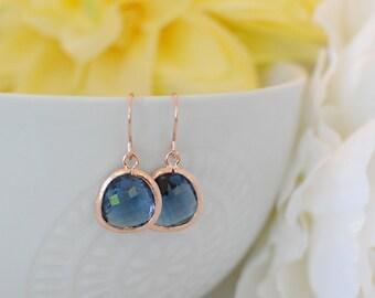 The Phoenix Anne Earrings - Sapphire/Rose Gold