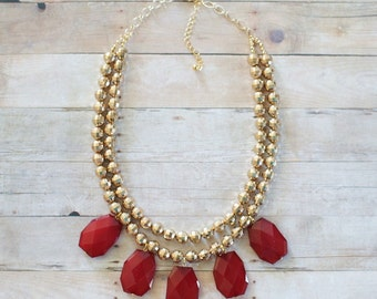 Gold Beaded Statement Necklace with Red Gem Beads, Red Beaded Necklace, Gold Statement Necklace, Gold Bib Necklace