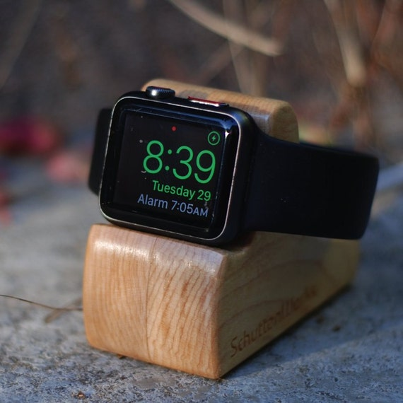Apple Watch Dock - The RIPPLE in Maple - Hides the cable - Perfect for Nightstand Mode.