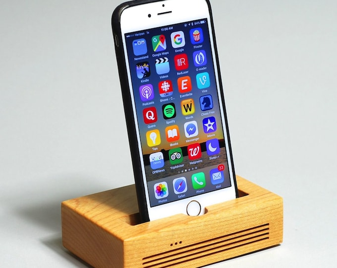 iPhone  Docking Station - The CONCERT Acoustic Speaker Dock  in MAPLE wood – Use With or Without a Case - Boosts the Sound