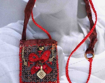 "Textile necklace pouch ""a little red butterfly """