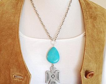 Desert Inspired Thunderbird Boho Artisan Necklace