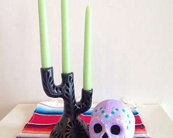 Hand Painted Day of the Dead Paper Mache Sugar Skull Lavender Dia de los Muertos