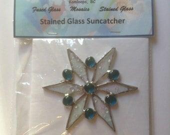 Stained glass - suncatcher - Window art - snowflake - SC014