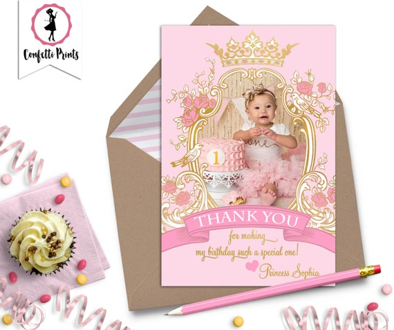 Pink and Gold Birthday Thank You Card | Vintage Princess Birthday | Princess Tea Party | Princess Birthday | Printable Thank You Card