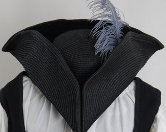 Pirate Hat Tricorn - color and feather options - Caribbean pirates, costume, cosplay, LARP