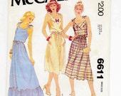 1970s Sundress, Petite Size, 6-8, Summer Dress, Boho Dress Sewing Pattern