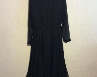 Sheer Black Crepe 1950s/1960s Dress