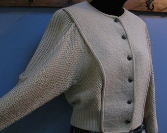 Vintage Beige Cable Cardigan Wool Sweater Aran Knit Jumper
