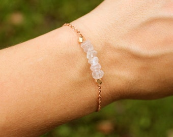 Rose Quartz and Rose Gold Bracelet - Minimalist Jewelry - Pink and Rose Gold Bracelet