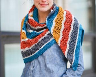 Lorelai Shawl Knitting Pattern Gilmore Girls Modern Lace Color Stripes PDF