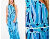 incredible vintage 60's/70's EMILIO PUCCI one shoulder geometric print goddess gown
