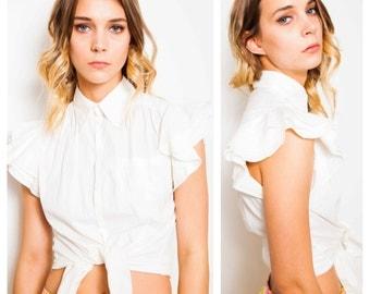chic vintage 80s/90s Jean Paul Gaultier JPG white tailored ruffle sleeve shirt