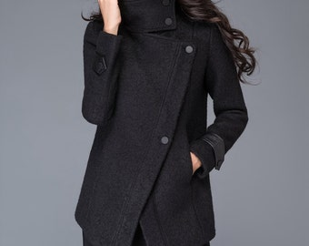 Plus size coat, short coat, maxi coats, High collar coat, black wool jacket, winter Jacket, short jacket, custom coat, womens jackets, C987
