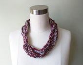 Maroon Scarf Necklace .. Silver Scarf Necklace .. Valentine Scarf .. Crochet Scarf .. Chain Scarf .. Gift for Her .. Galentines Day Gift