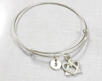 Adoption Gifts,  Adoption Bracelet, Adoption Jewelry, Adopting Foster Parent Adoption Symbol Charm Bangle Birth Mother Gift Born In My Heart