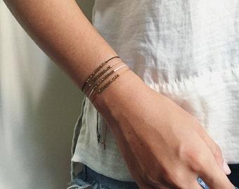 Minimalist Adjustable Friendship Silk Cord Bracelet - Simple Delicate Macrame Slide Closure with Gold/Silver Tone Hexagon Beads