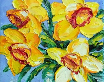 Daffodil Art Small Oil Painting Yellow Flower Textured Impasto Palette Knife Mini Small Canvas Framed or Unframed Option 6x6
