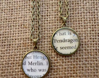 Merlin and Arthur Pendragon Friendship Book Page Necklaces