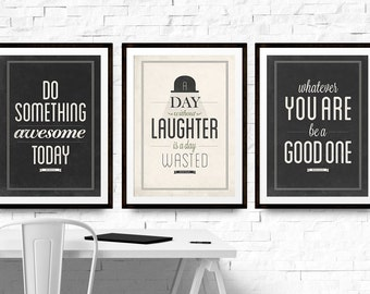 Rustic Quotes Bundle, Set of Three Prints, Art Prints, Wall Art Set, Be A Good One, Do Something Awesome, Home Art Print, Designer Decor, A4