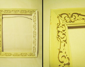 8x10 Ornate Wood Picture Frame / Carved Look - Antique White and Gold Finish - Open Backed Frame - Mid Century / Shabby Chic Paris Apartment