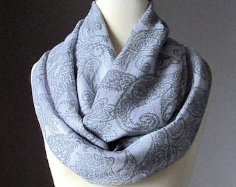 Grey infinity scarf, floral print, light scarf for summer and spring time