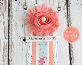Tea Party Corsage Mommy to Be Grandma to Be Corsage Pin Clip Badge Capia Shabby Chic Coral Garden Party Shower