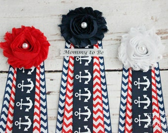 Nautical Baby Shower Corsage Red Chevron and Mommy to Be Grandma to Be Daddy to Be and Custom Pins anchor Corsage Ahoy its a boy