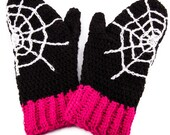 Spider Web Mittens - Custom Colour Spooky Cobweb Hand Warmers - Womens & Unisex Spiderweb Psychobilly Mittens - Gothic Halloween Winter Wear