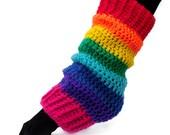 Rainbow Leg Warmers - Multicoloured Cosy Chunky Crochet Leg Warmers - Kawaii ROYGBIV Vegan Legwarmers - Kitsch Rainbow Striped Winter Wear