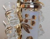 Vintage Liqueur Service Gold Leaf Shotglasses 'MadMen' Romance