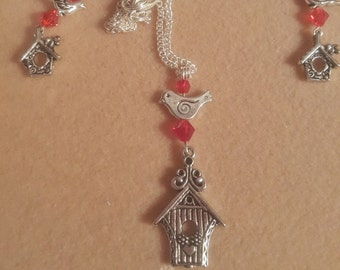 Birdhouse Necklace and Earrings - Free Shipping