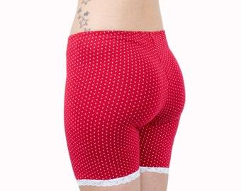 Polka Dot Biker Shorts Bamboo Jersey Bloomers Organic Underwear Red or Black Tap Pants