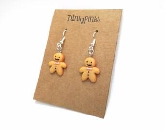 Peperkoek Man oorbellen, kerst oorbellen van ebben hout peperkoek juwelen, sieraden Kerstmis, Kerstmis sieraden