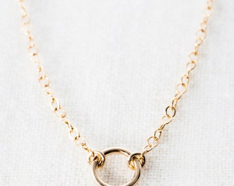 Hanini necklace - gold necklace, tiny gold circle necklace, gold eternity necklace, gold filled necklace, gold choker necklace, maui jewelry
