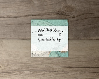 Instant Download Bookplate printable • please bring a book instead of a card • matching travel invitations