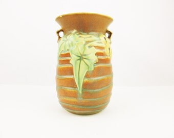 Roseville 'Luffa' Pattern Brown Vase - From 1934 Pattern - Unmarked Collectible - Damaged Piece For Beginner or 'Lover of Luffa'