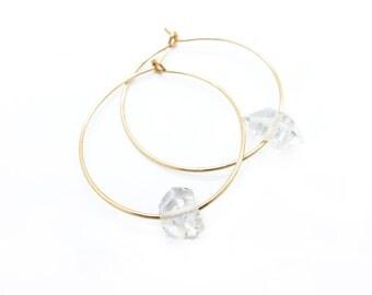 Herkimer Diamond Earrings, Quartz Earrings, Quartz Jewelry, Gold Hoop Earrings